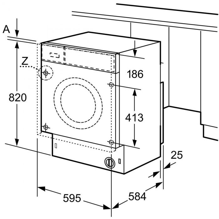 Пералня със сушилня за вграждане Bosch WKD28542EU Серия 6, 1400 обр/мин, 7/4 кг